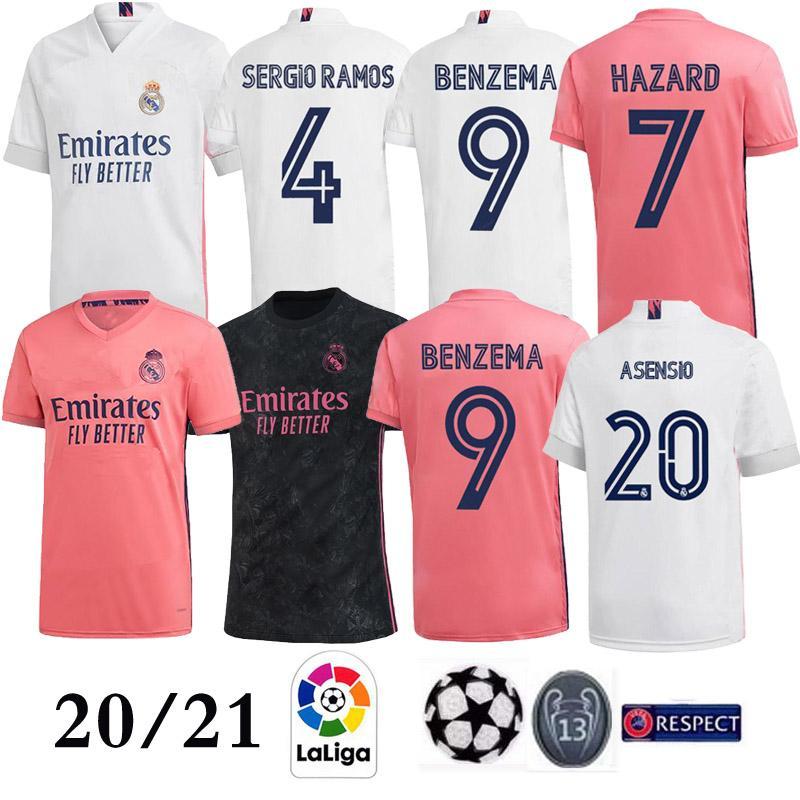 2021 Real Madrid en casa PELIGRO camiseta de fútbol 2020 de la calidad tailandesa superior camisa BALA ASENSIO hombre de fútbol soccer jersey MODRIC Marcelo Tercera equipación