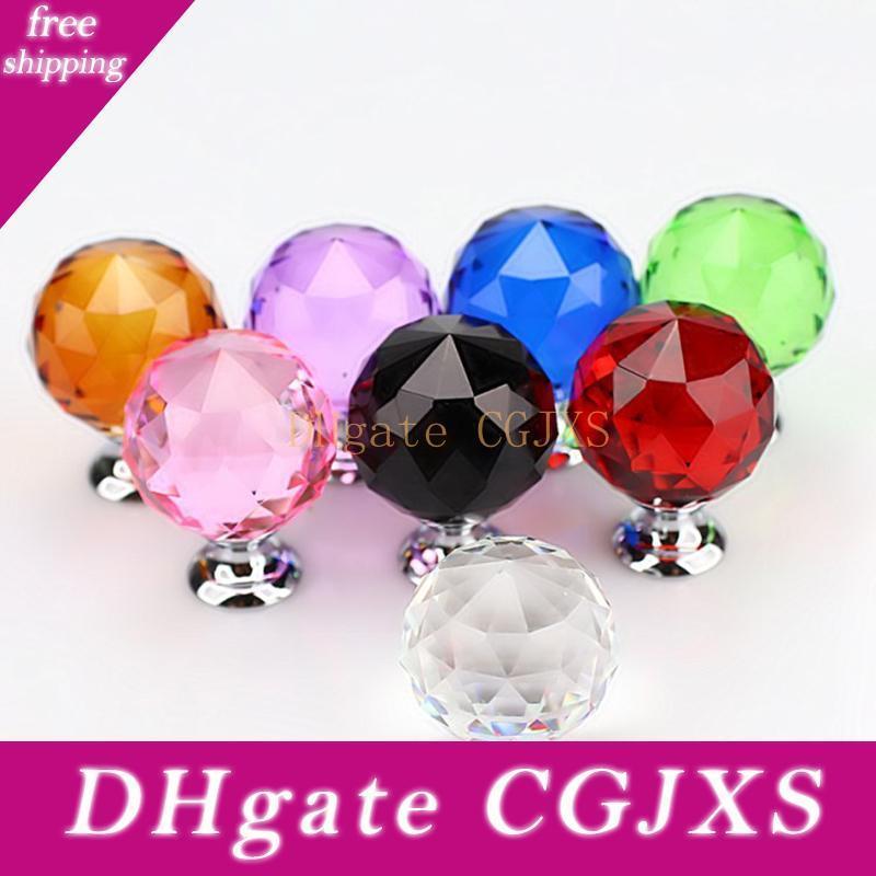 30 millimetri diamante di cristallo Porta manopole del Governo del cassetto Maniglia della mobilia manopola Vite per mobili Accessori 8 colori