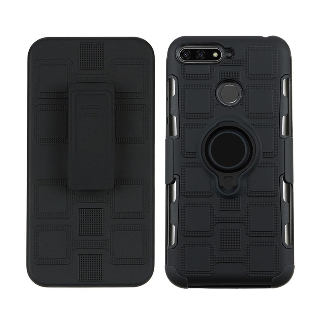 Huawei Y6 için / 360 Derece Döndür Siyah Halka Tutucu ile 8e 3'te 1 Küp PC + TPU Koruyucu Kılıf Enjoy