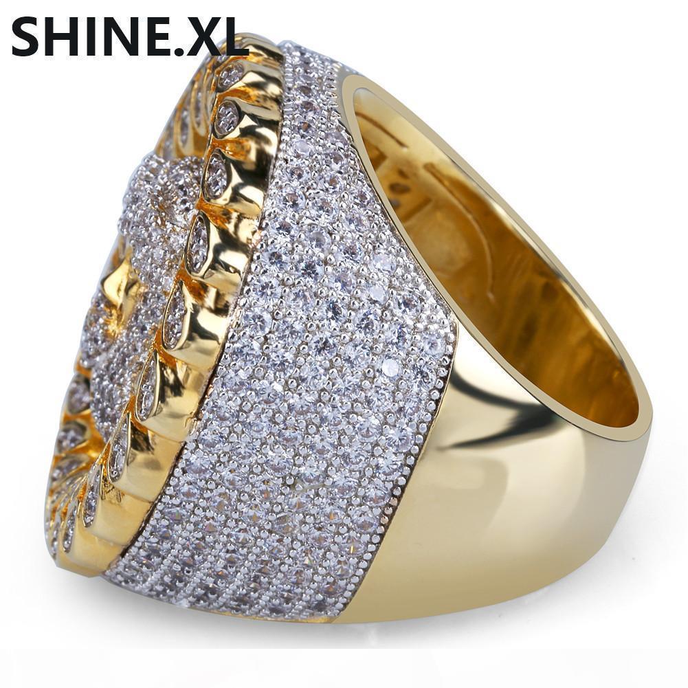 Nuovo disegno micro dell'anello pavimentato zircone oro placcato Colore Gesù Testa anelli di barretta per gli uomini Formato delle donne 8-12