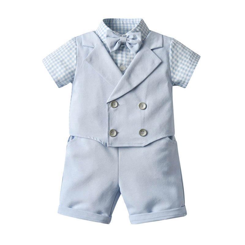 Yeni Yaz bebek erkek takım elbise bebek kıyafetler erkek bebek giysileri Yenidoğan Kıyafetler beyefendi Bebek giysileri kısa kollu gömlek + şort 2pcs / set