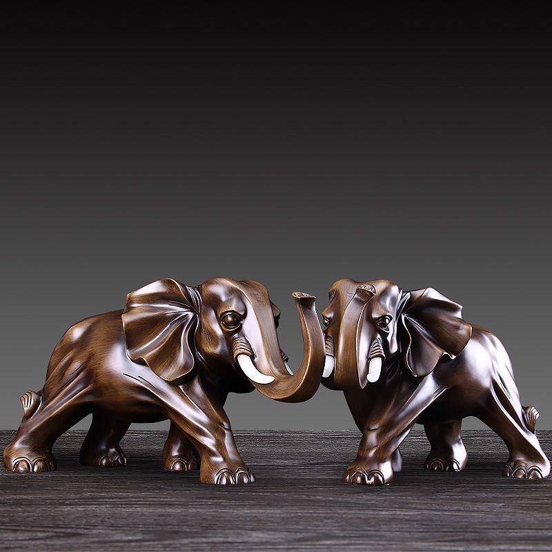 Роскошные Статуэтки Смола слон Crafts животных Украшения Creative Главная Мебель Отделка офиса Благоприятный Свадебные подарки