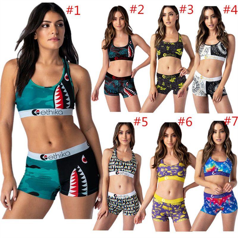 Mode Frauen-Badebekleidung Shark Letter Print 2 Stück Outfits Weste Push-up-BH + Shorts Badeanzug Bodycon Anzug Beach Suit Kleidung
