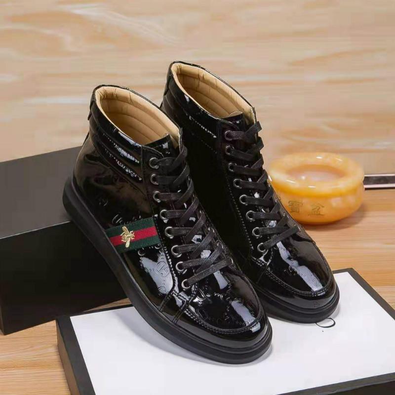 moda homens europeus s sapatos 2019 novos couro casuais de alta-top sapatos sapatos rasos estilo selvagem (com saco de caixa de pó)