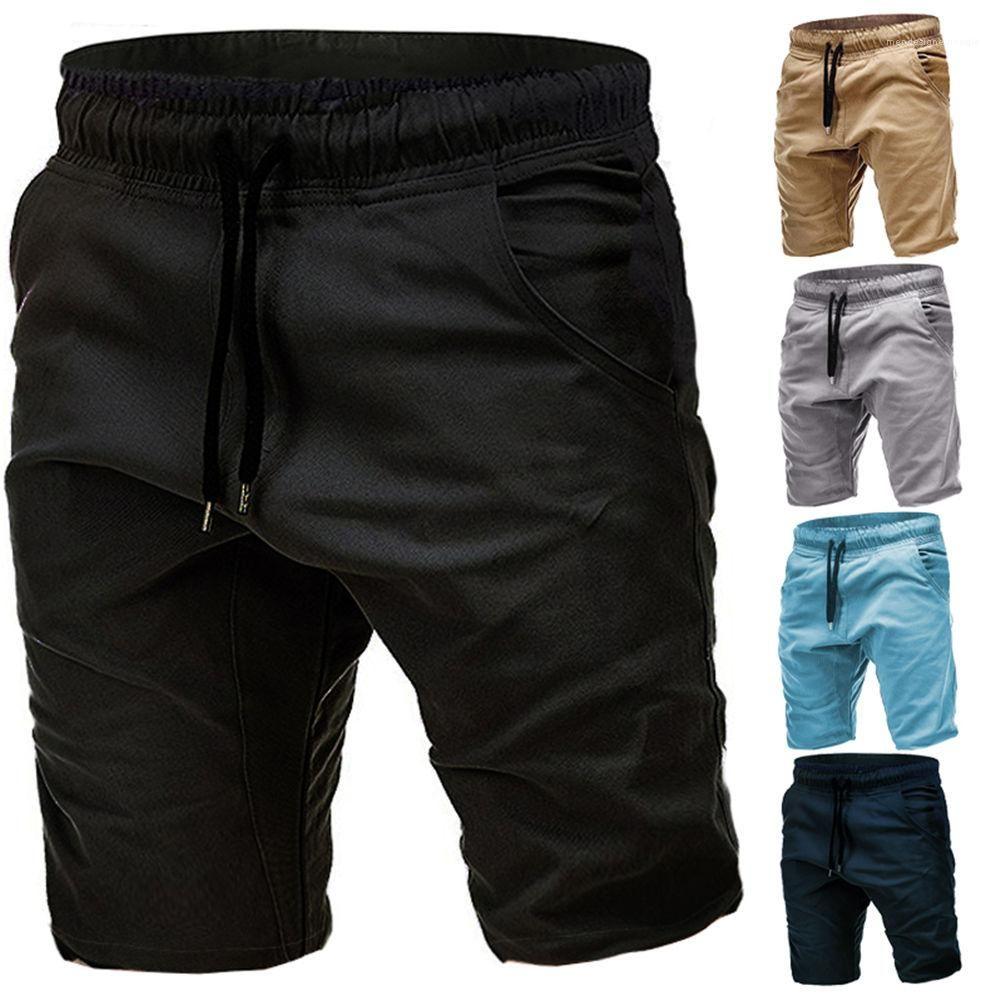 السراويل موضة أوم سروال قصير رجالي سراويل عادية لون الصلبة منتصف الخصر الرباط مان