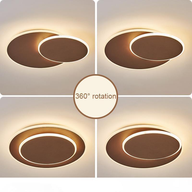 Luces de techo redonda DIY giratoria llevados modernos para sala de estar dormitorio Sala de Estudio colores blanco, marrón techo llevado luz de la habitación accesorio de la lámpara