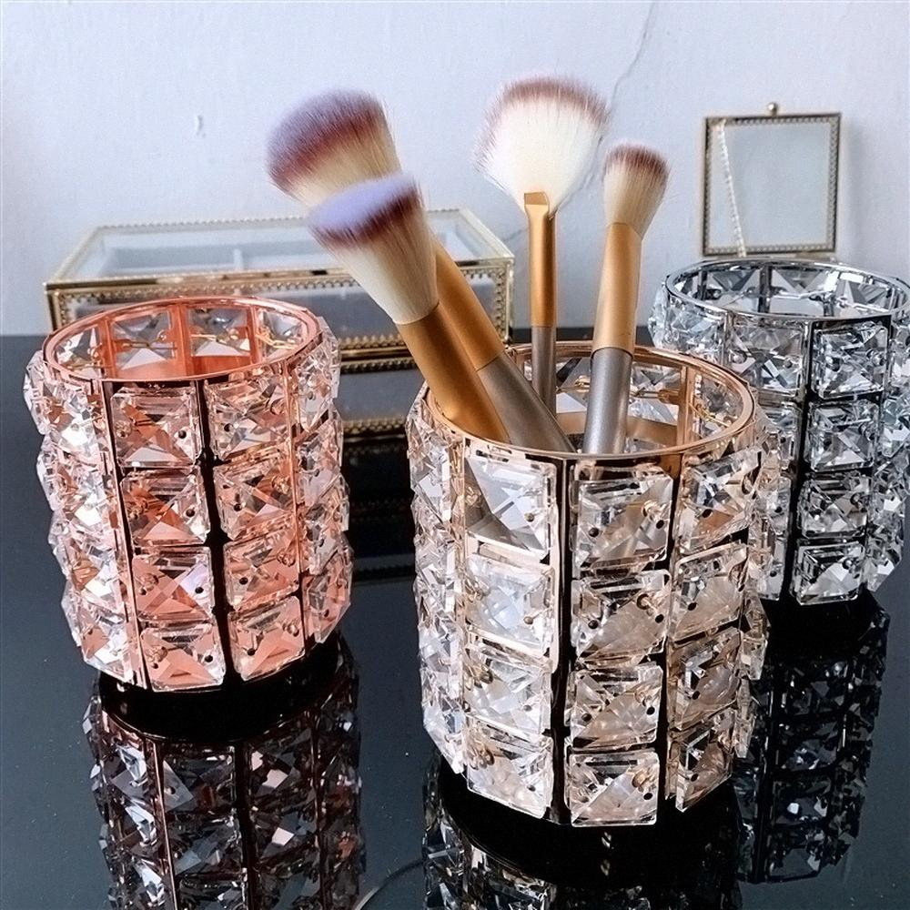 Maquiagem Enipate Europeu suporte de escova de armazenamento Pen Titular de cristal Bucket Lápis de sobrancelha pente Caixa de armazenamento Cosmetic escova Organizador wMIR #