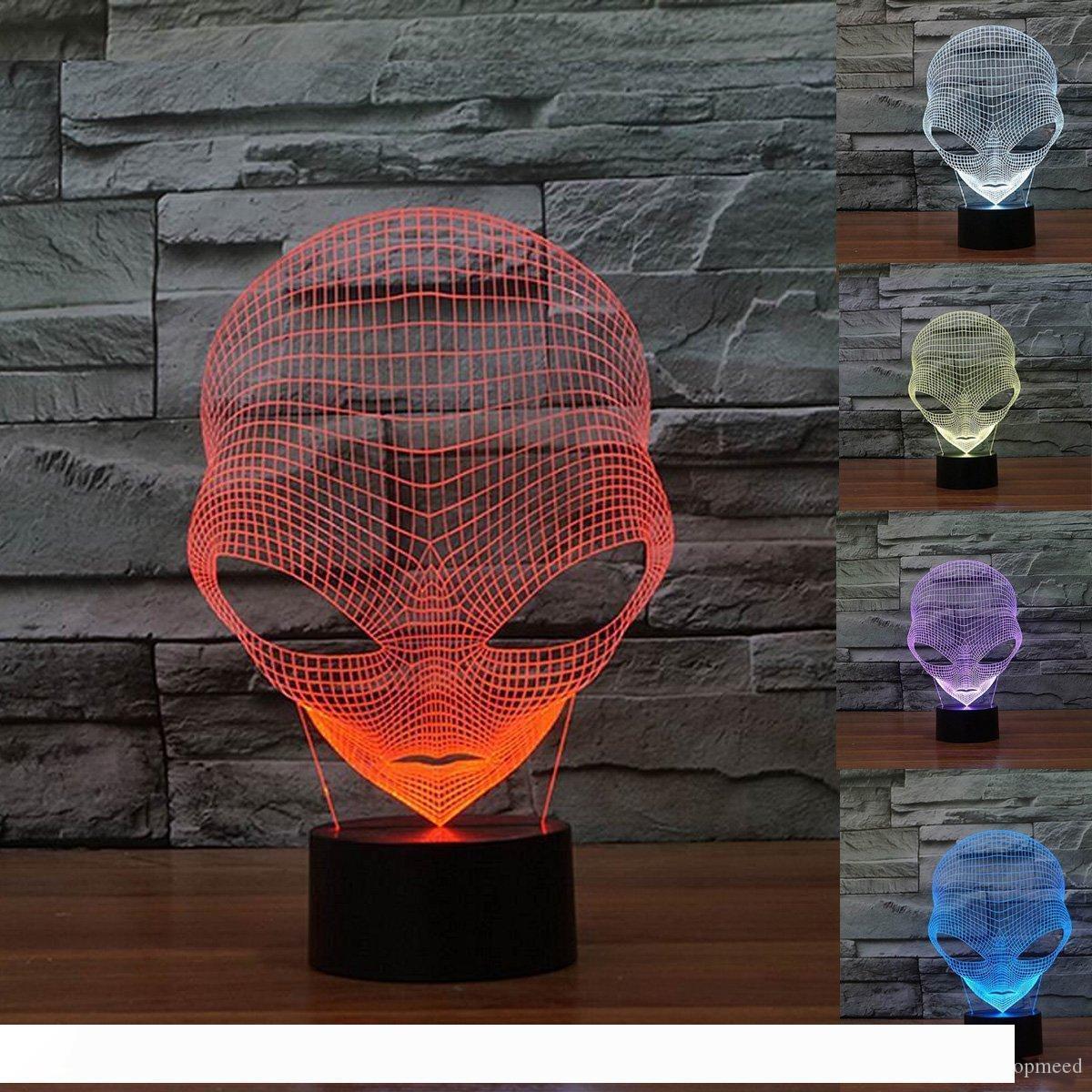 3D Лампа USB Power 7 цветов Удивительные оптические иллюзии 3D расти светодиодные лампы Чужеродные формы Дети Bedroom Night Light