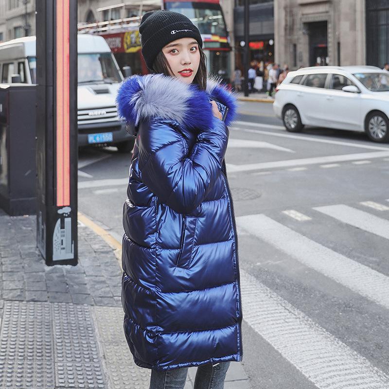 Luck Chic col en fourrure à capuchon brillant hiver Manteau Femme Veste oversize chaud épais coton rembourré ouaté parkas Outwears