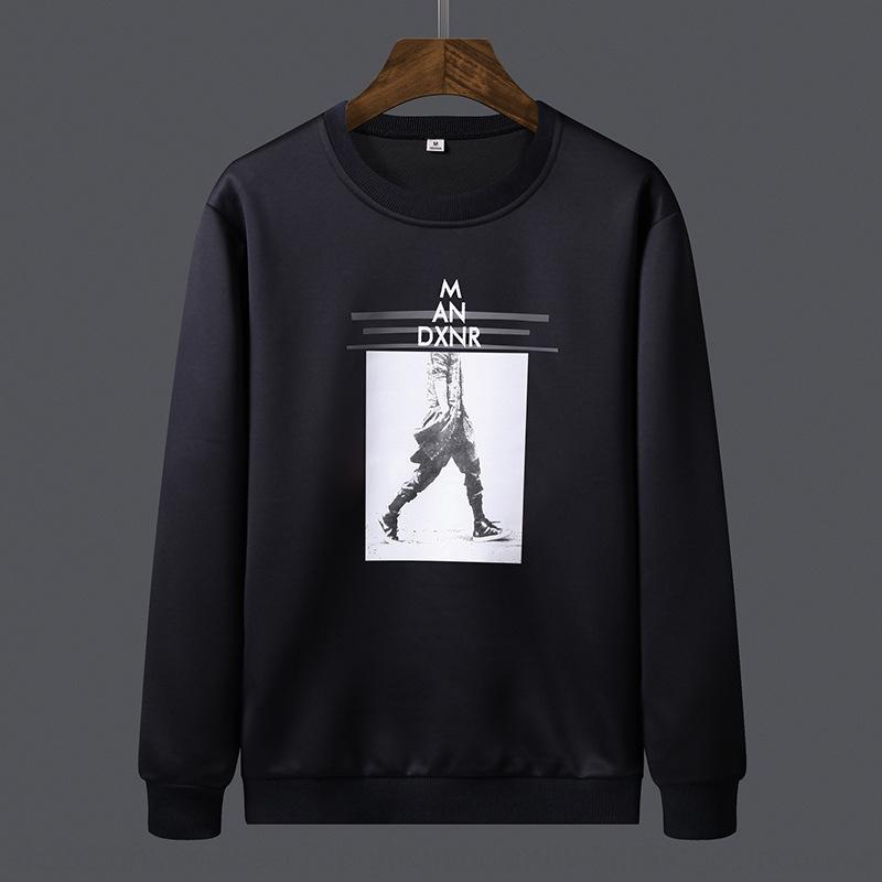 Yf5bN Autumn Männer Langarm-T-Shirt der koreanische Art dünne Art und Weise junge schöne Männer rund Sweatshirt T-Shirt Sweatshirt Kragen lässig spo