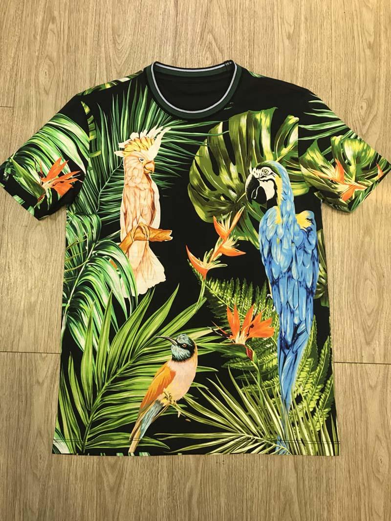 hombre de la calidad de impresión más reciente loro tropical camiseta de la calle ocasional de la calle tapa de la camisa salvaje 2020 Francés moda primavera verano gris