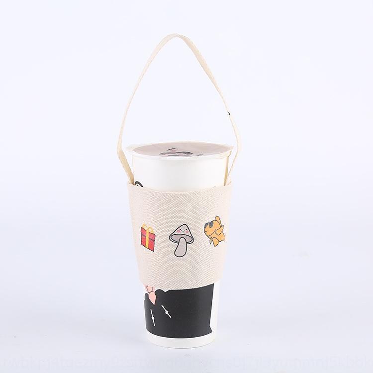 bebida caliente caliente taza de envasado de tela portátil de impresión de texto patrón de tapa té con leche té con leche lienzo