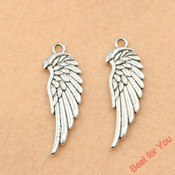 Antik Gümüş Kaplama Angel Wings Charms Boncuk Kolye Takı için DIY El Yapımı 33x12mm Yapımı