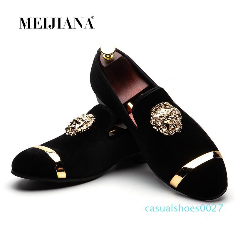 Meijiana 2020 Yeni Büyük Beden Erkek loafer'lar Erkek Deri Ayakkabı Lüks Günlük Moda Trend Marka Erkek Ayakkabı Düğün Ayakkabı MX190713 C27 Slip On