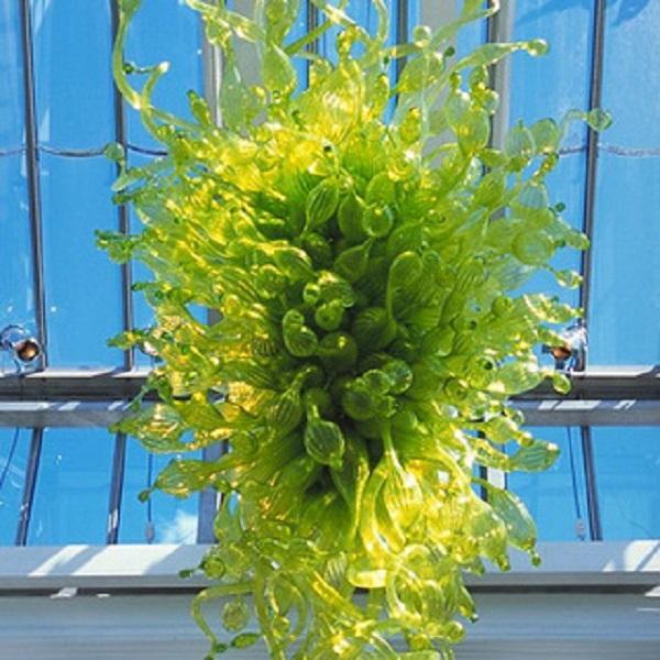 Handgemachte Lampe Geblasenes Murano Glas Decke Kronleuchter Licht LED-Birnen Kundenspezifische Grüne moderne Kunst Chihuly Stil Kronleuchter für Villa Dekor