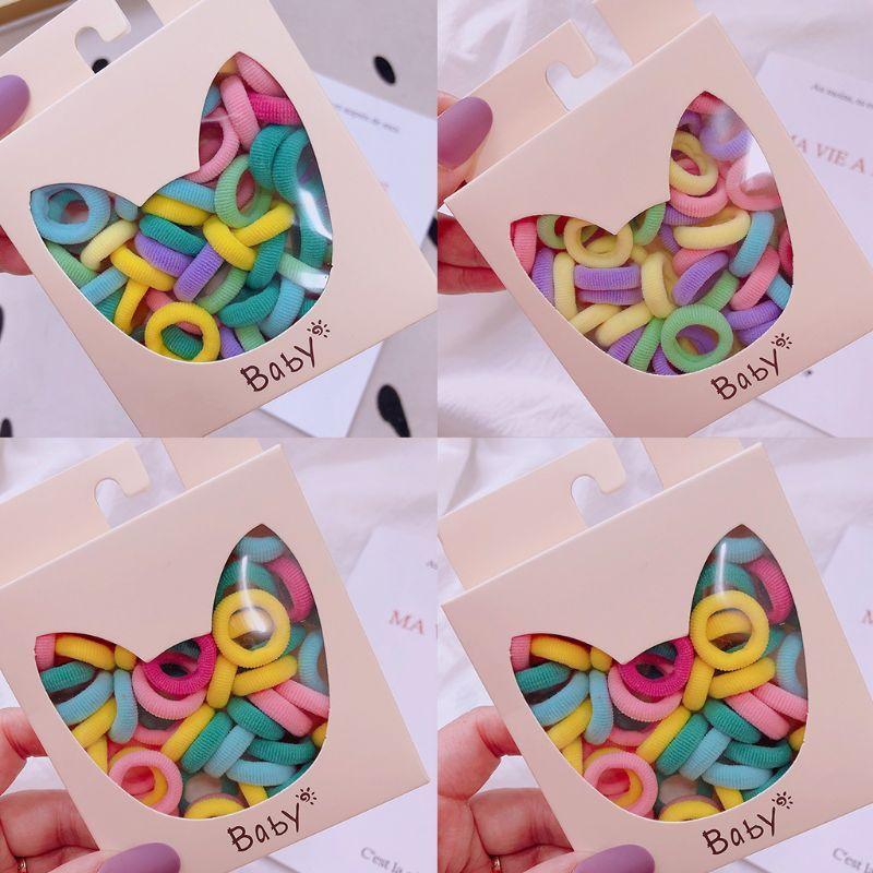 40pcs девушки Маленькие Галстуки волос Сладкий Macaron конфеты Цветные Упругие Scrunchies Группа F3MF