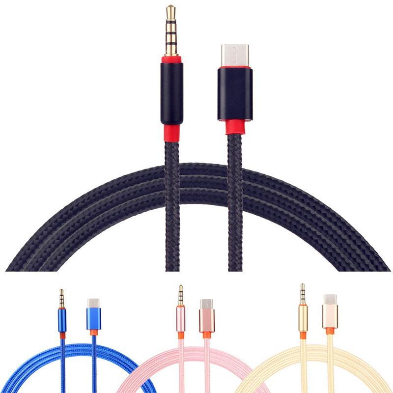 Samsung LETV Huawei için Araç Hoparlör için kumaş Tip C aux Kablo USB C Tipi Erkek 3.5mm Jack Erkek Araç AUX Ses Adaptörü USB-C Kablo