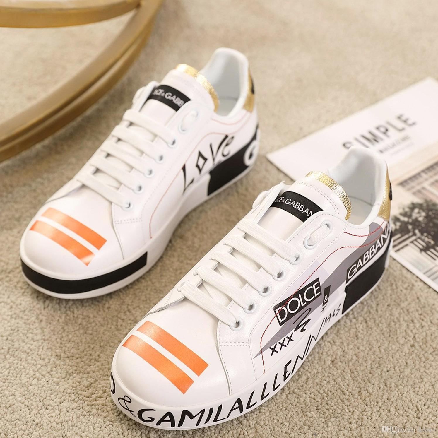 begrenzte Top Qualität Mens Leder Freizeitschuhe, Plattformen Muster Paar Schuhe Mode Persönlichkeit wilde Sportschuh Größe Druck: 35-45 0036
