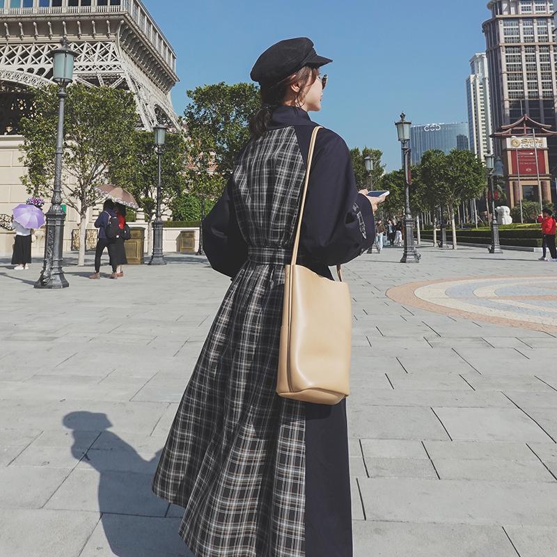2020 новый Корейский стиль сшивание клетчатые пальто средней длины британского пальто более-колено модно случайные Женщины пальто W59