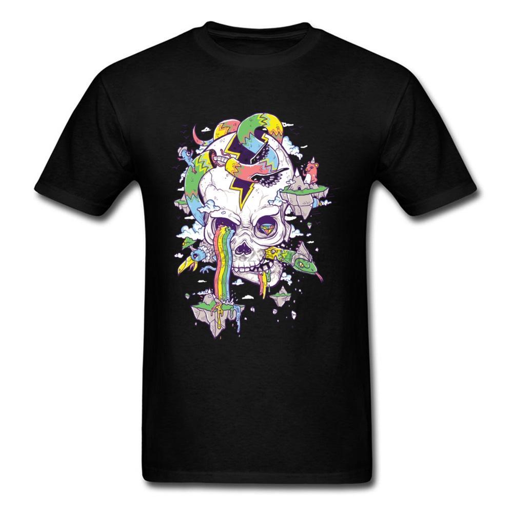 Punk magliette degli uomini freddi di modo uomini volanti Arcobaleno Skull Island T-shirt Estate 90S Abbigliamento Camicia 3D White Skull Tshirt