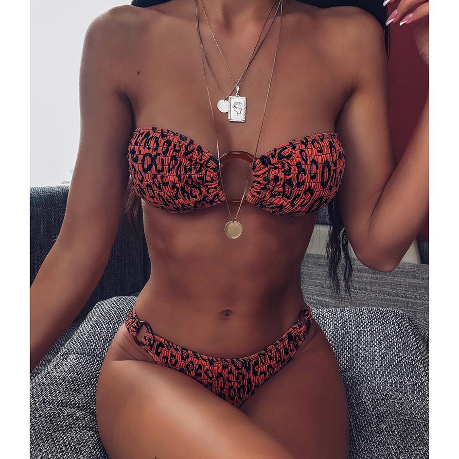 Leopard sexy Fold bretelles bikini bandeau 2020 Été Maillot de bain femme de bain Maillot de bain Beachwear pour Set femmes Maillots de bain Bikinis