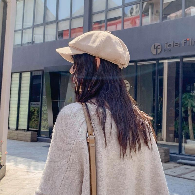 La molla delle donne E7WEk e coreano autunno stile nuovo pittore rete rossa colore solido lingua d'anatra berreto cappello Pittore casuale ottagonale hatberet octago