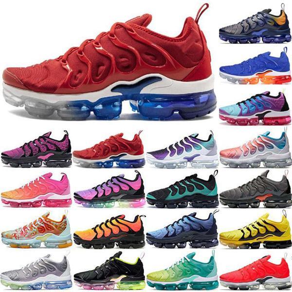 2021 En Kaliteli Yastık Buharları ABD TN Artı Erkek Koşu Ayakkabıları Tasarımcı Üçlü Beyaz Siyah Açık Spor Ayakkabı Erkek Kadın Sneakers Eğitmen Maxes Boyutu 36-45