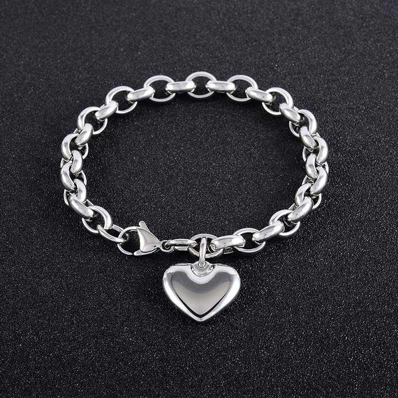 mujeres de la pulsera del corazón pulsera accesorios femeninos de acero inoxidable 2019 cadenas en la mano pulseras regalos personalizados los amigos