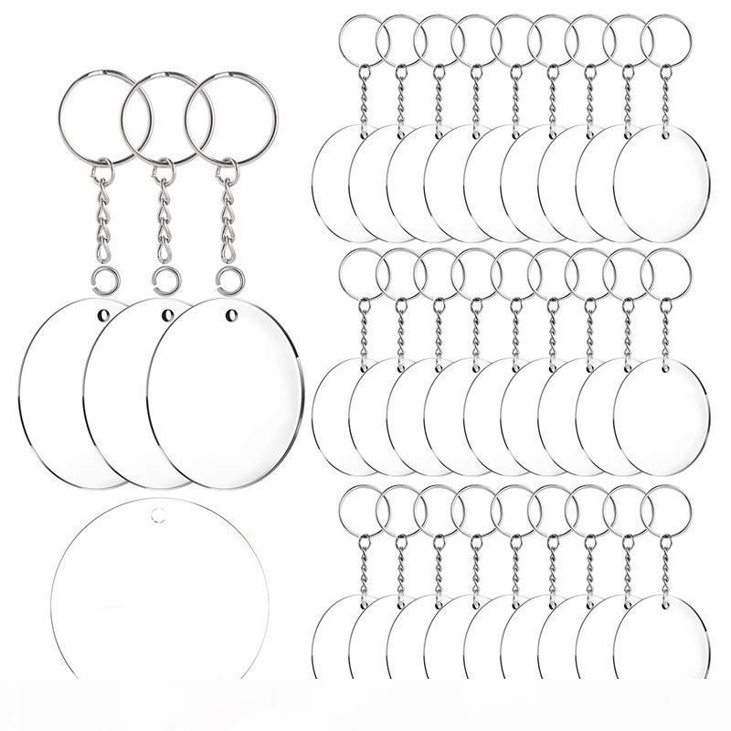 Акриловый брелок Пробелы, 60 шт 2 дюйма Диаметр круглого Акрил Очистить Диски Круги с Metal Split Key Chain Rings