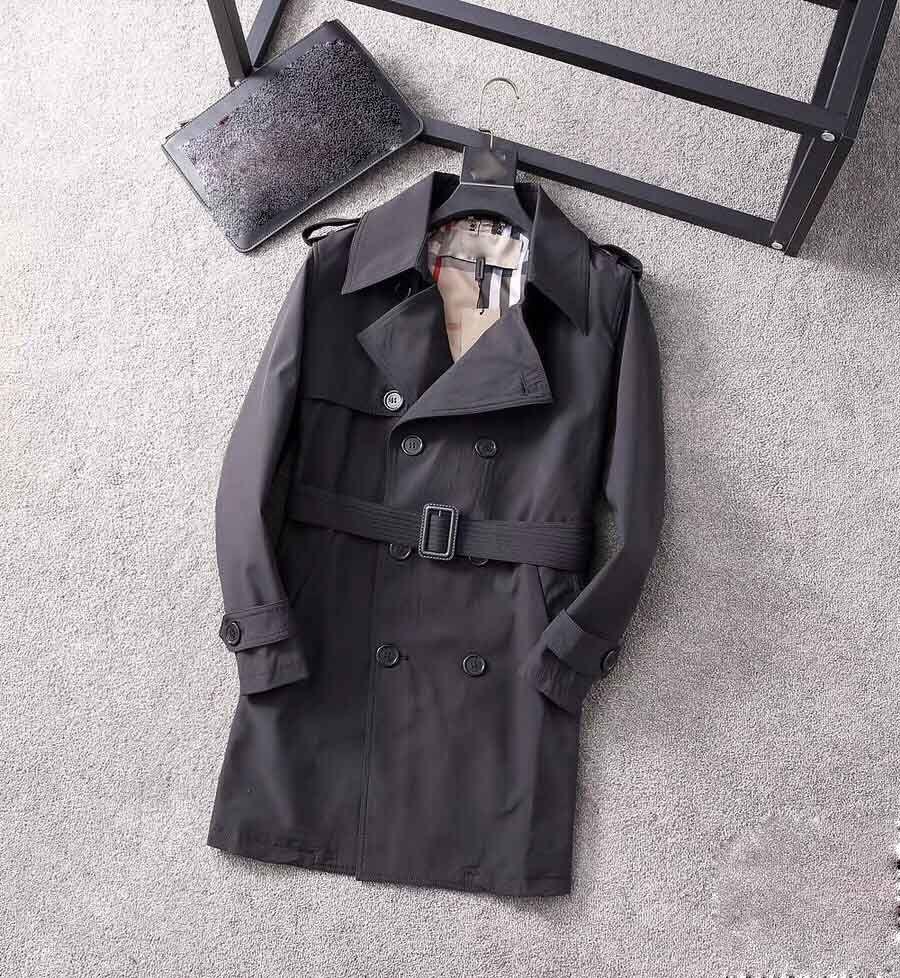 2020 Классический горячий продаваемый мужская и женская мода британская британская траншея среднего длины / британский дизайнер двубортный тонкий пояс ремня