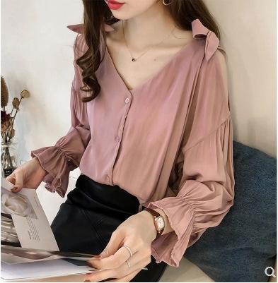 nuevo y elegante clavícula V-cuello de la camisa del corazón de la mariposa con cordones de las mujeres pEeNd bowshoulder camisa de moda de las mujeres
