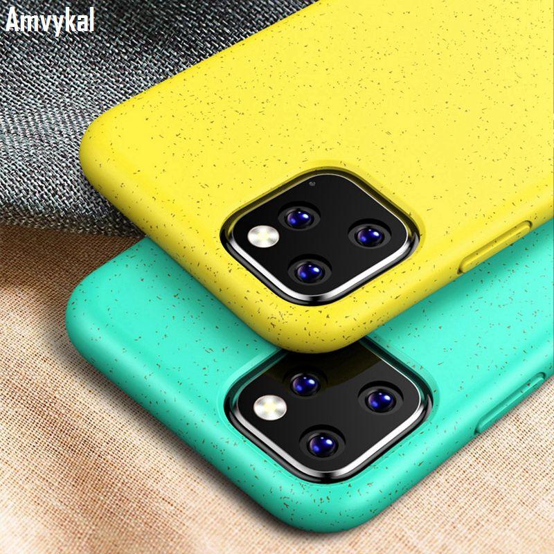 iPhone İçin Çevre dostu Buğday Straw Silikon Şeker Renkler Telefon Kılıfları iphone11 için 11 pro Max 11pro Darbeye TPU Kapak