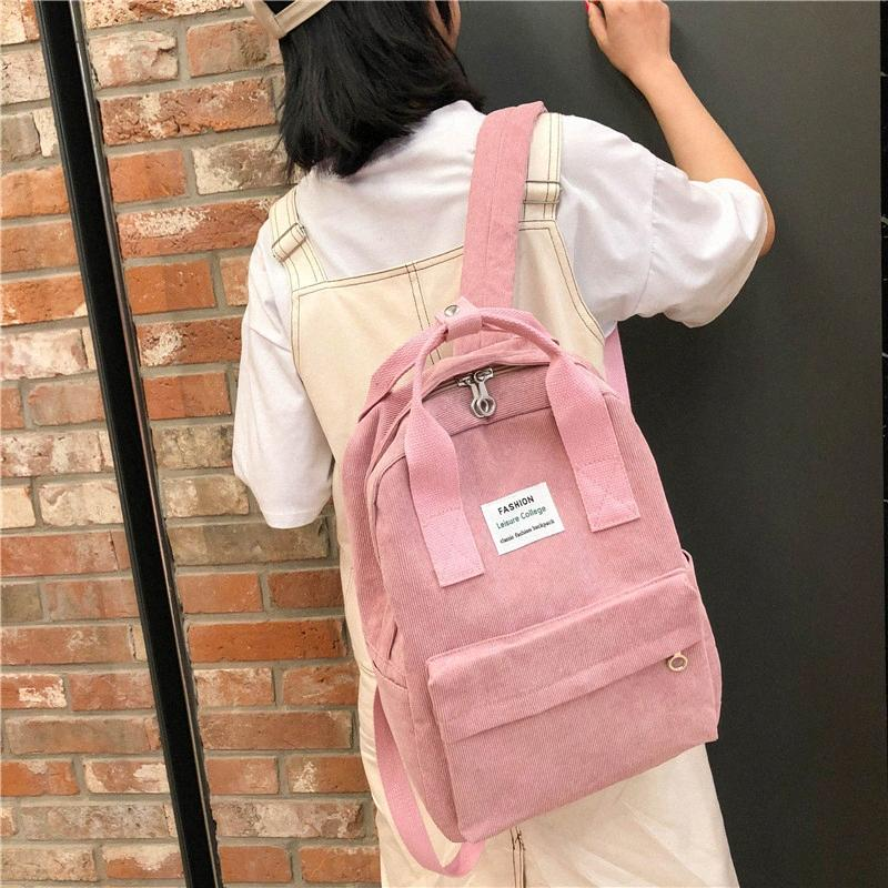 Listrado Velvet Backpack Simples Moda da High School Backpack Estudante fêmea Travel Bag Junior High School Bag Estudante Melhor Mochilas Gi SMZB #
