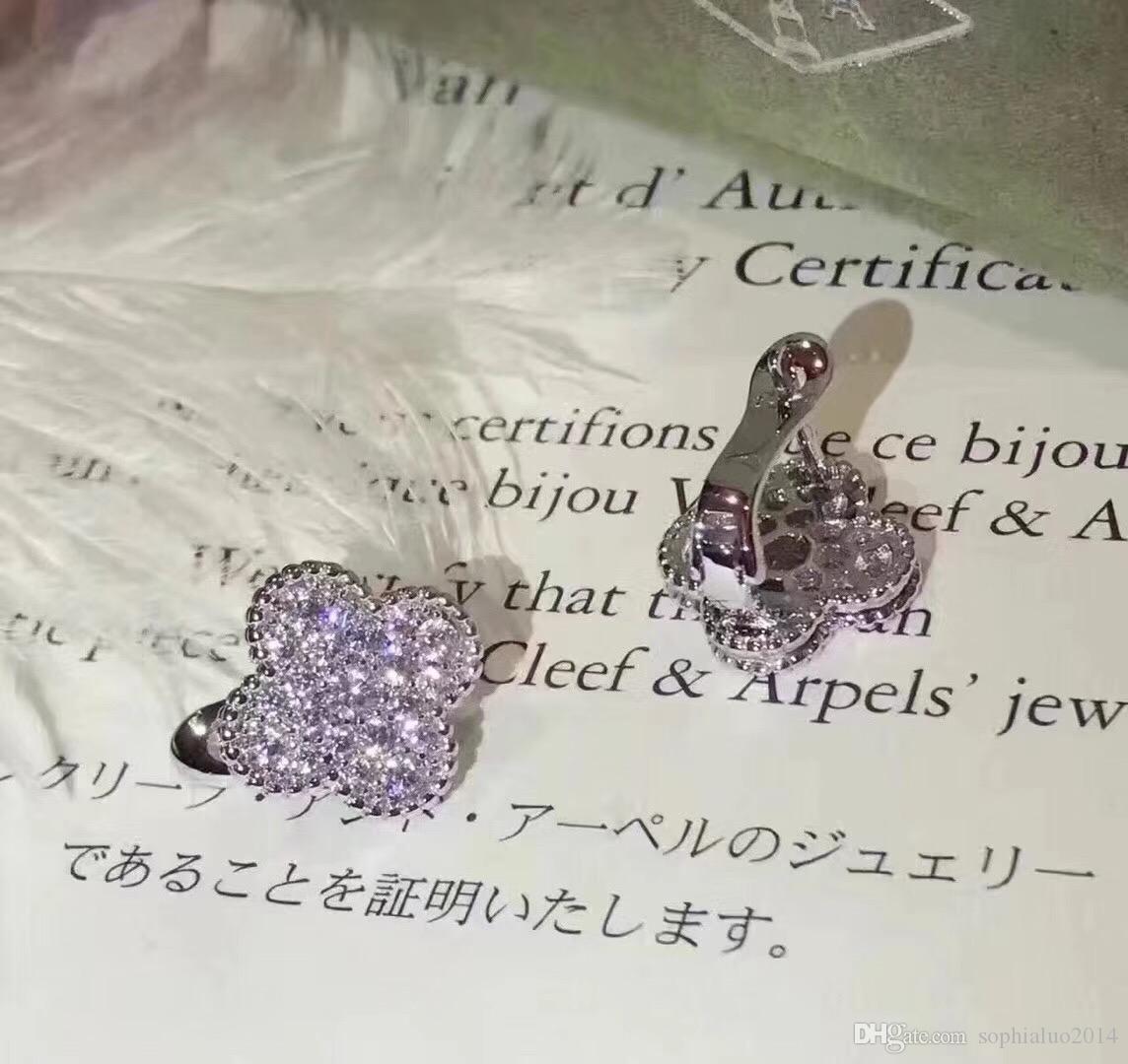 Berühmter Luxus magische Alhambra Weißgold voller Kristall vierblättriges Kleeblatt-Blumen-Bolzen-Ohrringe für Frauen Fashion Jewelry