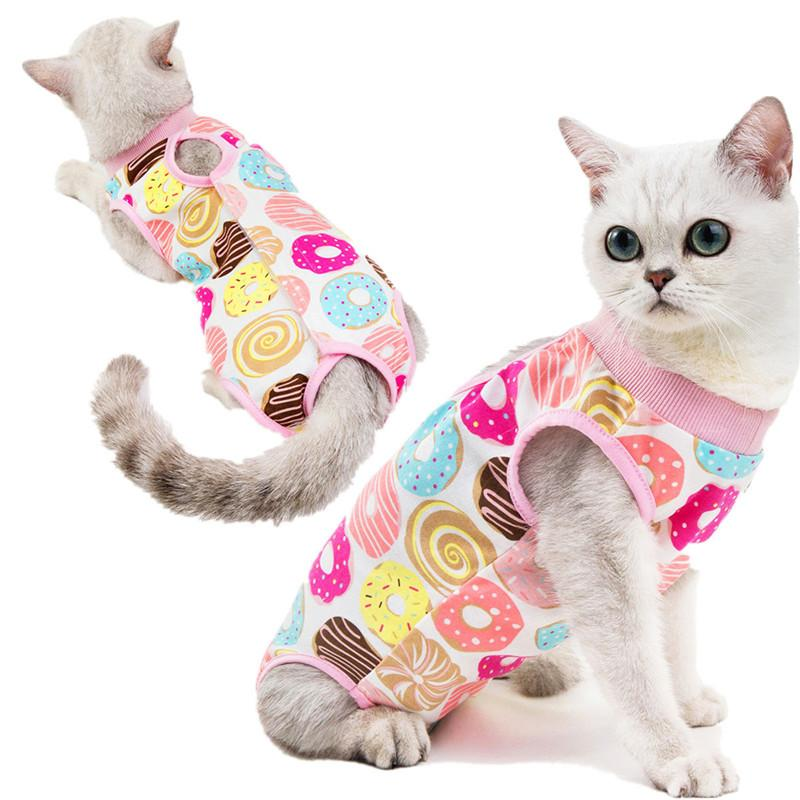Мультфильм печать одежда дышащая кошка хирургический восстановительный костюм Pet Cats стерилизация костюмы хирургии носить антиблизирующие ранения Одежда будет и песчаный подарок