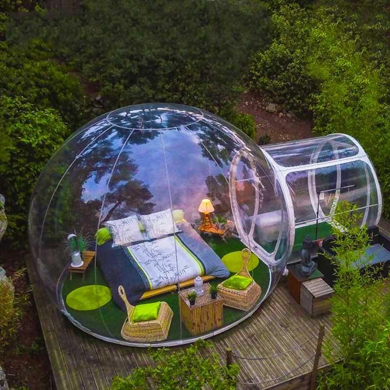 9 Квадратный метр Открытый кемпинга надувной пузырь Палатка Большой DIY Дом Backyard Кемпинг Cabin Lodge Air Bubble Transparent Tent