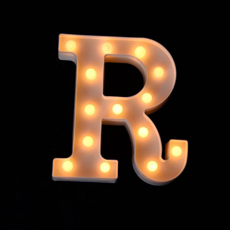 LED de luz de plástico 26 letras del alfabeto inglés botones Lamp Tipo caliente luces blancas noche en color de calidad superior ZA4920