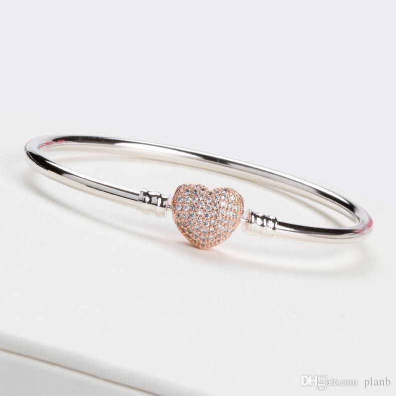Las mujeres de lujo 18k de oro rosa en forma de corazón del corchete pulsera brazalete de caja fija original para Pandora 925 encanto de plata esterlina pulseras regalo de boda
