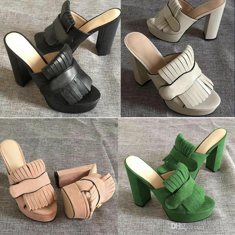 Mulheres Luxury Designer slides Sandals Marmont alta plataforma Salto com franja tom Duplo camurça e couro do vintage Sandals meados de salto