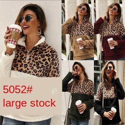 2019 automne et en hiver Top New couture imprimé léopard chandail à manches longues