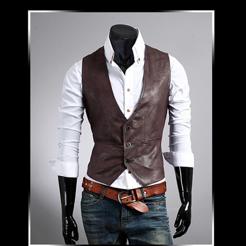 2020 neue Herren Leder-Kleid-Weste-Herbst-Frühlings-Art-Mode ärmel Jacke Lässige Braun Schwarz Weste Männer nehmen PU