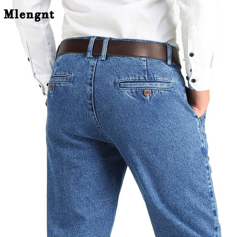 2020 Dickes Baumwollgewebe Fit Brand Jeans-Mann-beiläufige klassische gerade lose Jeans Mann Denim-Hosen-Hose Größe 28-42 Entspannt