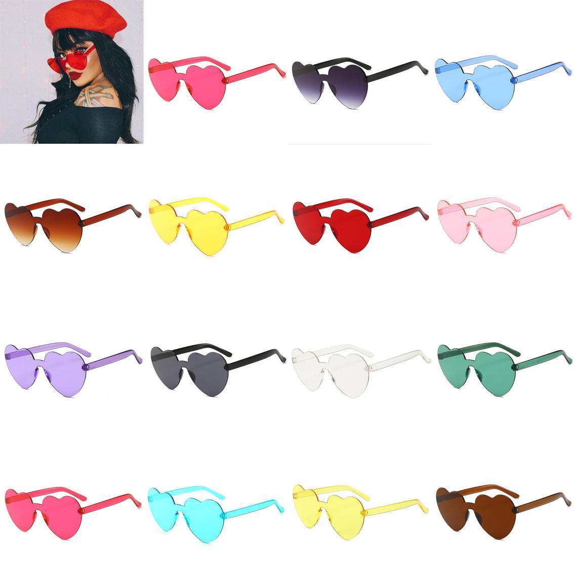 Gafas de sol de jalea unisex Transparente Coloreado con forma de corazón Corazones Coloree Shades Shades Gafas Peach New Women Diseñador Joyería Accesorio QFND