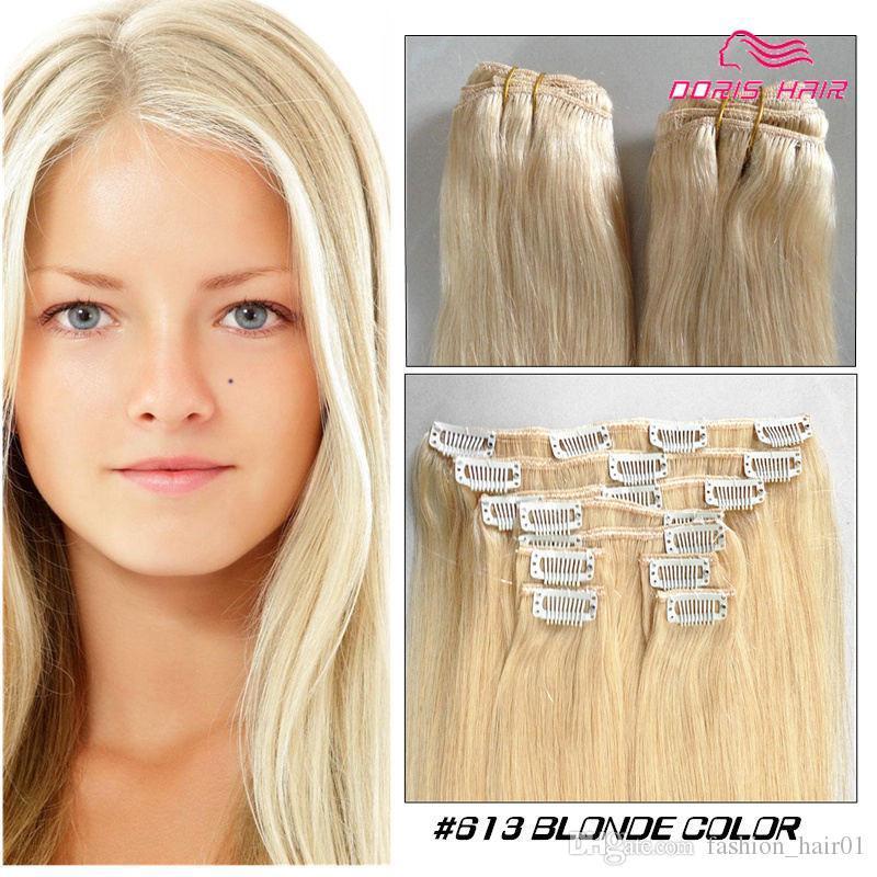 Blonde Klipps in der Menschenhaarverlängerung brasilianische indische Remy Menschenhaar silk gerade Clip 100g hoher Qualität auf menschliches Haar frei DHL