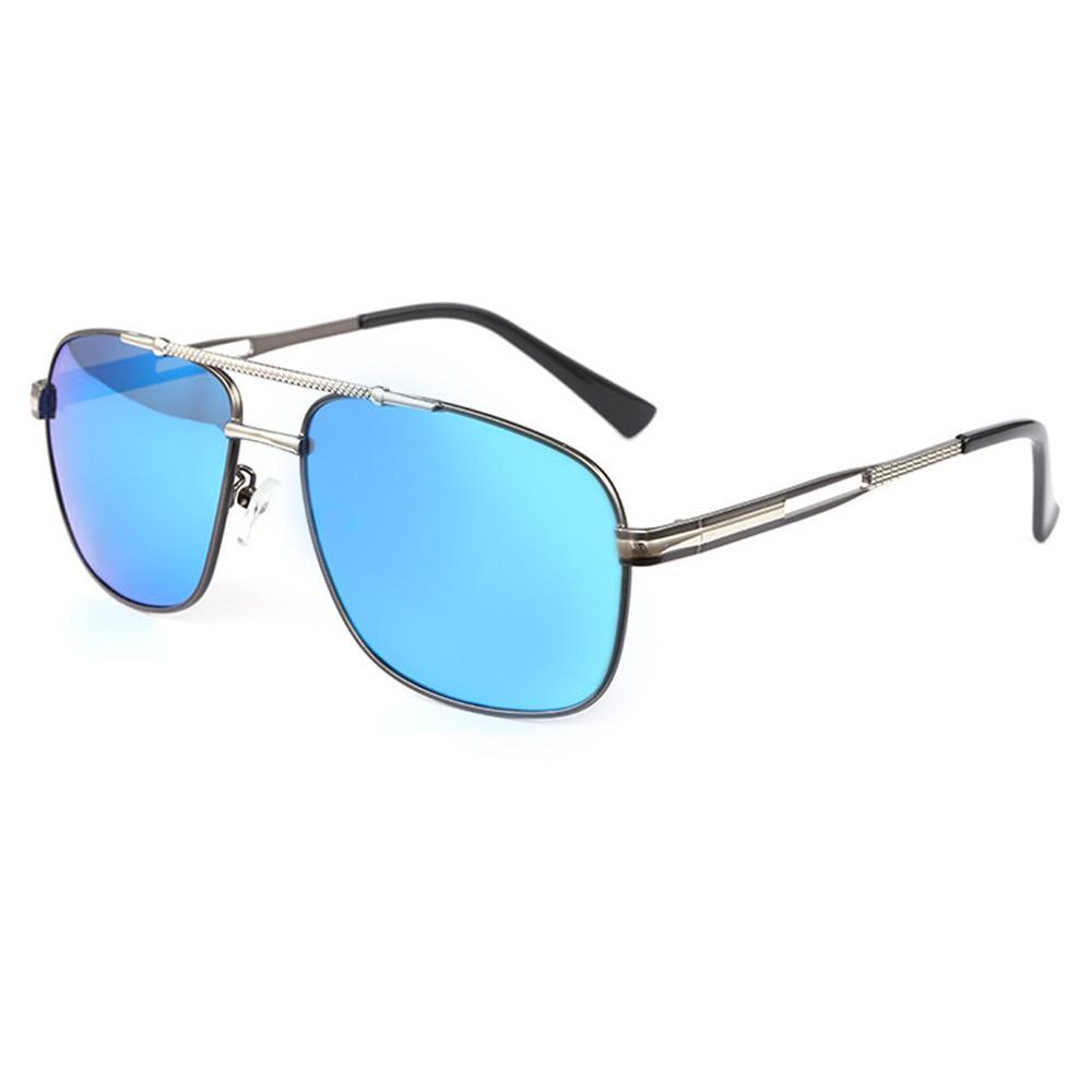New Fashion Men óculos polarizados Metal Frame azuis retrovisor óculos de sol vem com caixa MX200619
