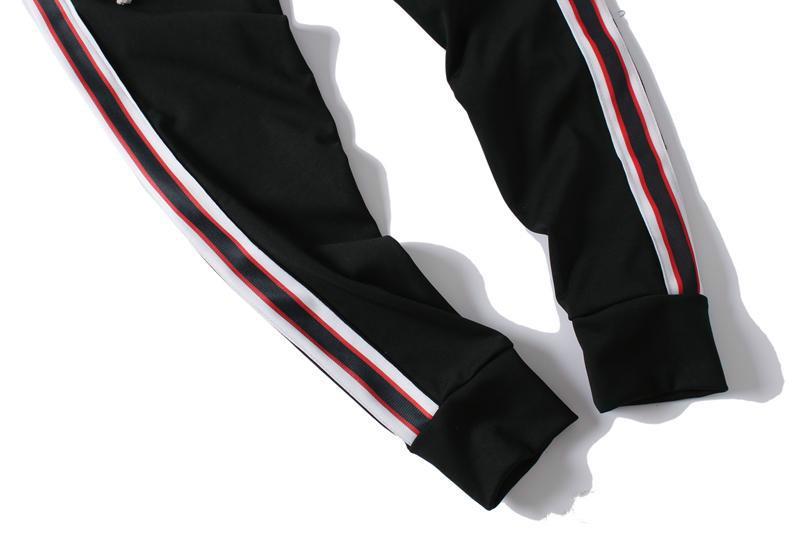 무료 배송 스웨트 팬츠 망 jogger 바지 브랜드 Drawstring 스포츠 바지 높은 패션 3 색 측면 스트라이프 디자이너 조깅