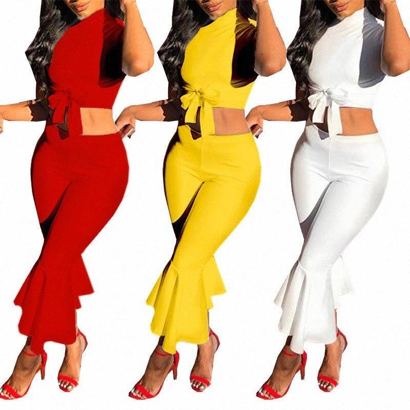 Белый Two Piece Set Женщины ето наряды с коротким рукавом Bow Tie Up Top и обрезается Flare Брюки Костюм Мода Sexy женщин Комплекты EPK5 #
