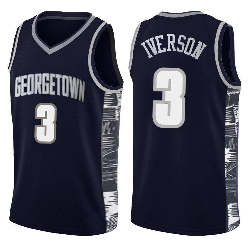 الأزرق ألن ايفرسون 3 NCAA كرة السلة الفانيلة جامعة جورج تاون بيت ايل مدرسة ثانوية ليبرون جيمس 23 الأيرلندية مدرسة ثانوية الفانيلة