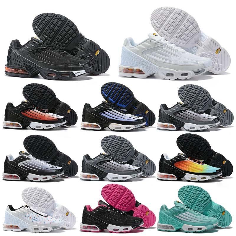 Artı III 3 TN Erkekler Kadınlar BİZİ İZLEMEYE DEVAM Ayakkabı Koşu Klasik Açık Siyah Beyaz Spor Şok Sneakers Requin Mavi Örümcek 36-45 tn