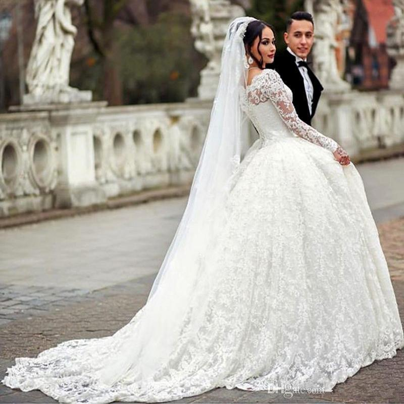 Stylish Lace Ball Gown Wedding Dress Arabic Style Appliques Sheer Plus Size Long Sleeves Wedding Dresses Bridal Gowns